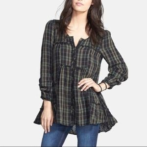 Free People Whistle While You Work Plaid Blouse